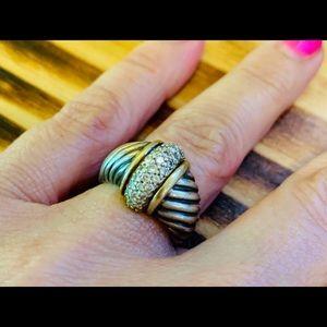 David Yurman 18K Cable Ring with Diamonds